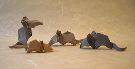 Семейство оригами мышей