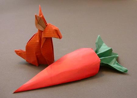 Оригами кролик и оригами морковка