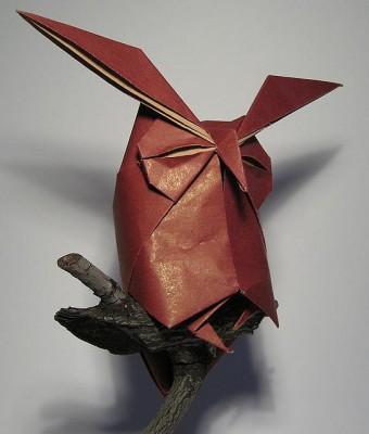 Оригами сова по схеме Hideo Komatsu