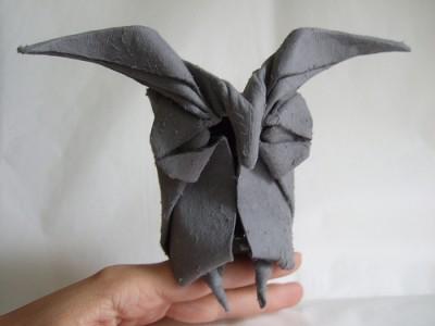 Оригами сова с применением мокрого складывания