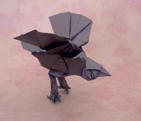 Черная оригами птица