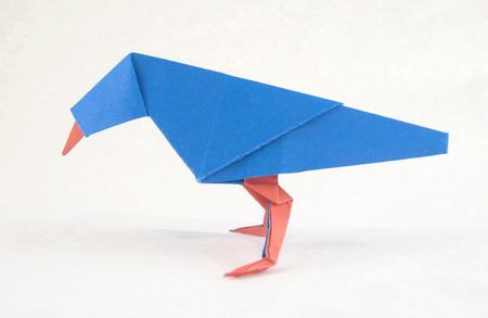Синяя оригами птица