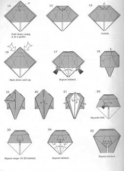 Схема оригами хамелеона, часть 2