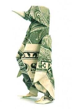 Пингвин из однодолларовой банкноты