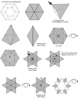 Снежинка оригами схема складывания