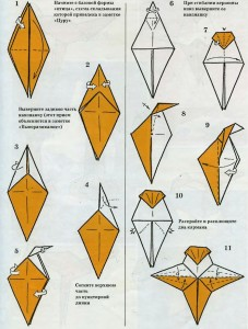 Схема для оригами трясогузки, п. 1 -11