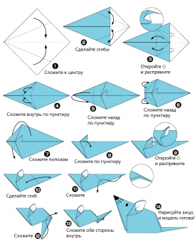 Схема сборки оригами мышки
