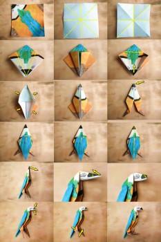 Схема сборки попугая оригами