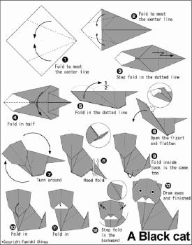 Схема сборки кота оригами