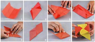 Схема сборки кубика из бумаги