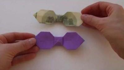 Галстук-бабочка из бумаги и купюры