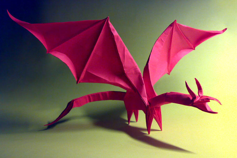 Added a few personal twists on simple dragon by Shuki Kato folded ... | 599x900
