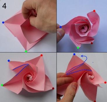 Схема розы оригами 4
