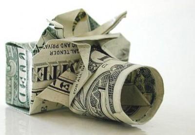 Фотоаппарат оригами из денег