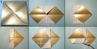 оригами снеговик схема 1