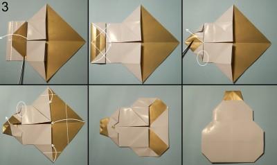 оригами снеговик схема 3