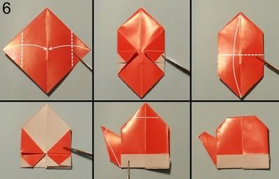 оригами снеговик схема 6