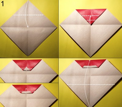 оригами дед мороз схема 1