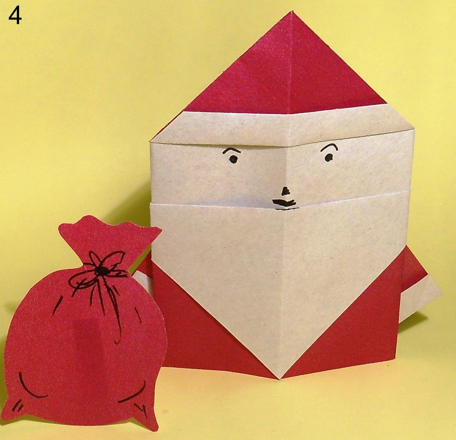 Сделать три, дед мороз оригами открытка