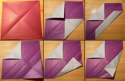 Сердце оригами с галстуком схема 1