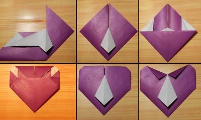 Сердце оригами с галстуком схема 3