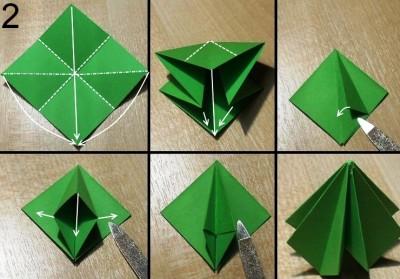 оригами елочка схема 2