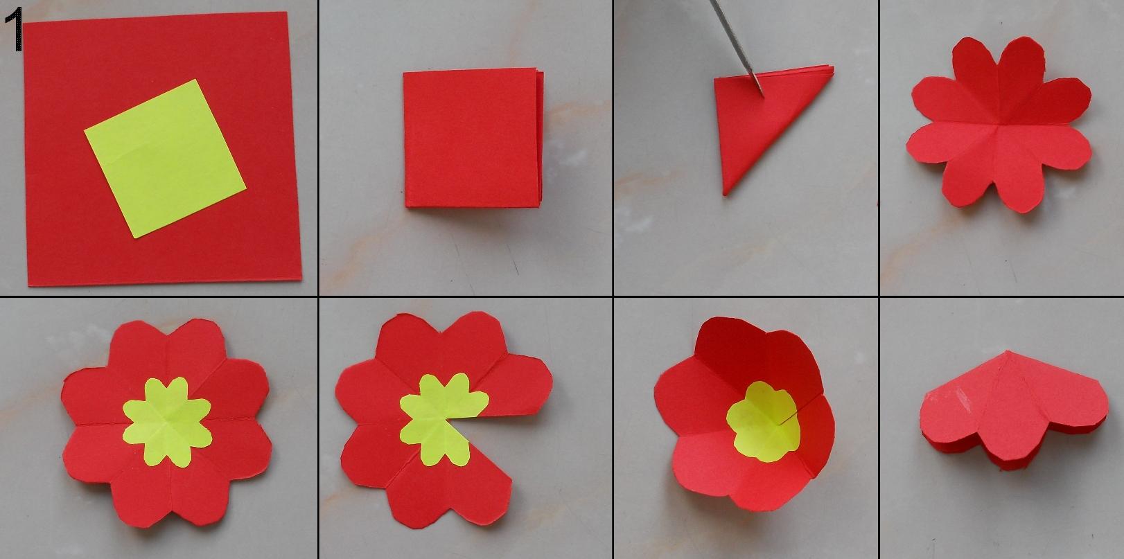 Российская, как сделать цветы из бумаги на открытку