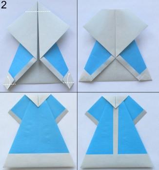 Оригами снегурочка схема 2