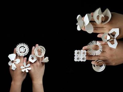 Оригами бумажные кольца украшения