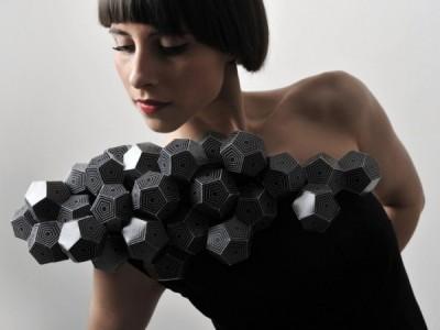 Оригами платье из бумажных многоугольников 2