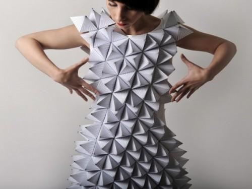 Оригами платье из бумажных многоугольников
