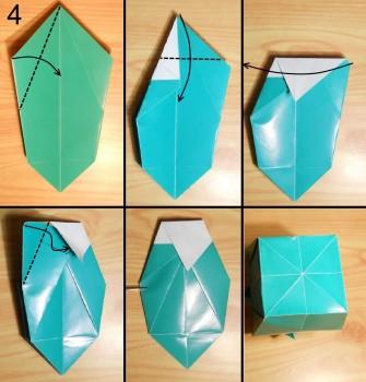 оригами ваза для цветов схема 4