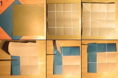 Оригами ваза с лепестками схема 1