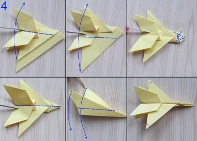 схема сборки истребителя оригами 4