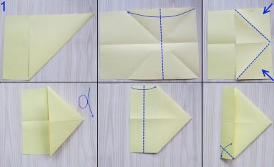 схема сборки истребителя оригами 1