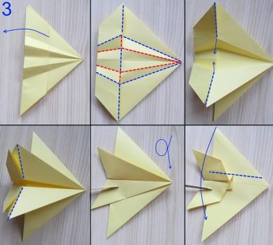 схема сборки истребителя оригами 3