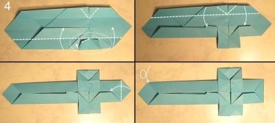 схема сборки меч оригами 4