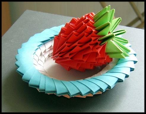 Модульное оригами Клубника мастер-класс