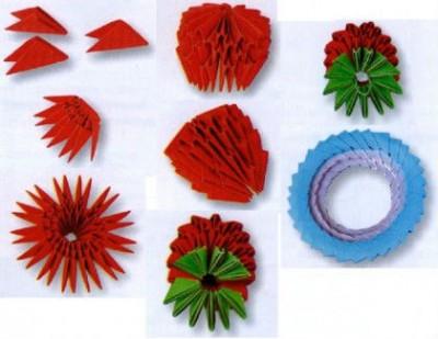 Модульное оригами Клубника схема складывания