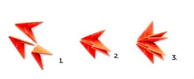 Модульный Лебедь оригами схема шаг 1-3