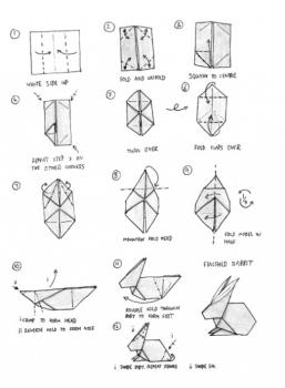Схема простой маленький Заяц оригами