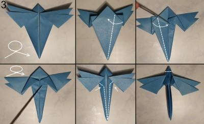 Стрекоза оригами схема 3