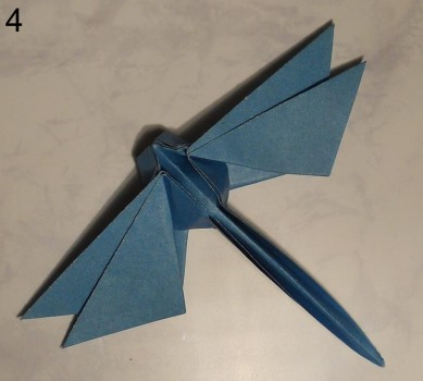 стрекоза оригами собранная своими руками