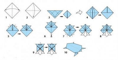 Черепаха оригами схема складывания шаг 1-10