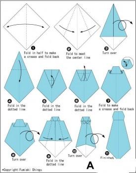 Галстук оригами схема складывания шаг 1-11