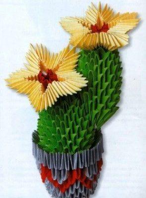 Цветущий кактус оригами модульное мастер-класс