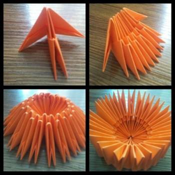 Кружка оригами из модулей схема шаг 1-4