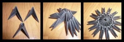 Модульное оригами Подсолнух схема сборки 1-3