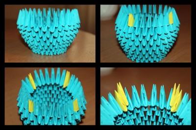 Оригами Корзинка схема шаг 3-6