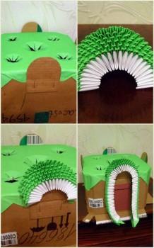 Оригами из модулей храм 9